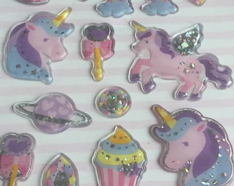 rainbow stickers Unicorn stickers Unicorn Kawaii Sticker Sheet by HelloKids deco stickers. holographic stickers cupcake stickers