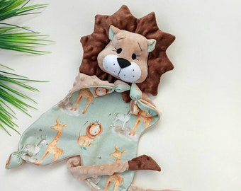 Personalised Comforter Blanket /& Teether Lion Style for Baby and Newborn Gift Set
