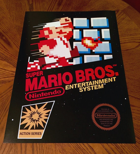 Super Mario Bros Nes Wall Poster Video Game Box Art Cover Etsy