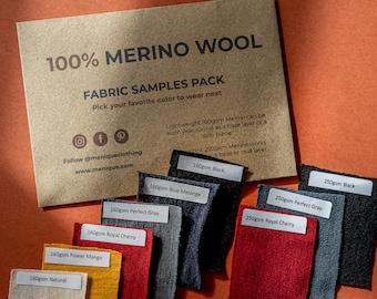 Merino Clothing Sample Pack/Fabric Swatches/Color Samples/Solid Fabric Samples – Organic Clothing