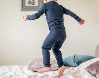 9505df54e8555e Merino Wool Kids Trousers Baby/Toddler Organic Leggings - Denim Blue