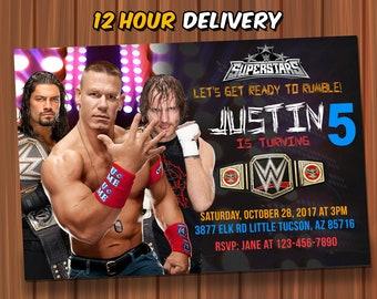 WWE Birthday Invitation FREE Thank You Card Digital John Cena Custom Wrestling