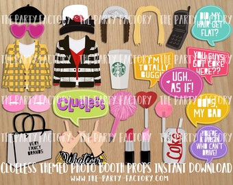 Clueless Themed Photo Booth Props Instant Download, PRINTABLES, PDF