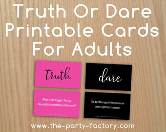 Truth or Dare Printable Cards for Adults, PDF File, Digital File