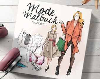 Fashion painting book for girls from 10 years | for adolescents, adults | Fashion & Models | Gift idea for girls | | approx. 21 x 21 cm | 130 p.