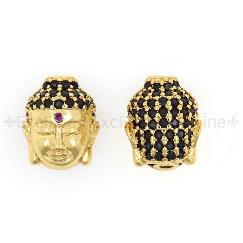 Black CZ Buddha Head Beads,Cubic Zirconia Charm,DIY Buddhism\u00a0 Jewelry Finding 12X14X6mm \u00a0