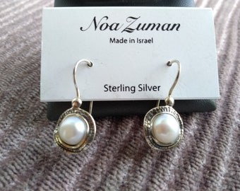 36161d8ee Noa Zuman Sterling Silver and Pearl Earrings of Real Silver Stamped Israel  925