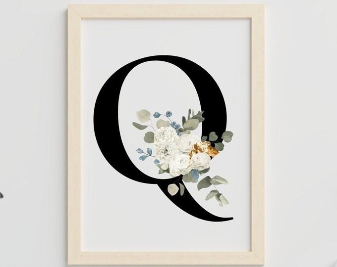 Letter Q floral monogram wall art decor, Monogram flower alphabet Q digital print