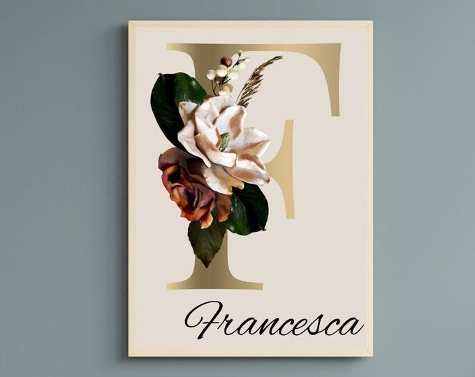 Personalized gifts, Monogram floral letter F wall art, Flower alphabet F monogram digital print