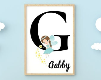 Personalized gifts, Baby gifts fairy monogram G wall art decor, Birthday gifts for little girls letter G digital print