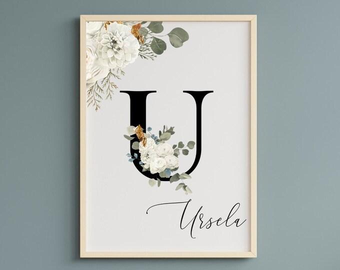 Letter U Wall Art, Wall Art, Custom Name Floral Wall Decor, Personalized Letter U Name, Digital Print, Personalized Monogram U, Home Decor