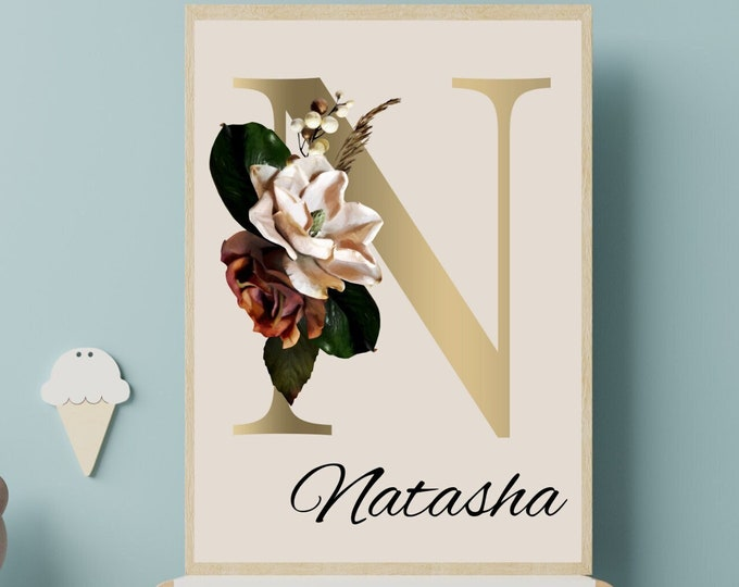 Personalized gifts, Floral monogram letter N wall art decor, Monogram flower alphabet N digital print