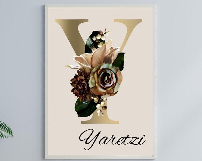 Personalized gifts, Floral monogram letter Y wall art home decor, Monogram flower alphabet Y digital print