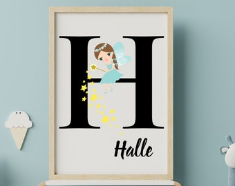 Personalized gifts, Baby gifts fairy monogram H wall art decor, Birthday gifts for little girls letter H fairy digital print