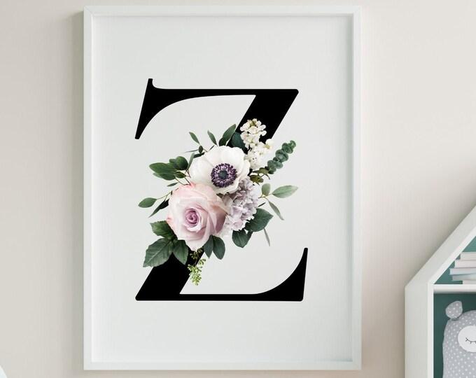 Alphabet Z floral monogram wall art decor, Flower letter Z monogram digital print