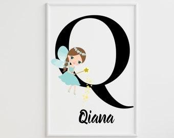 Personalized gifts, Nursery room monogram letter Q wall art decor, Alphabet Q teal fairy kids room digital print