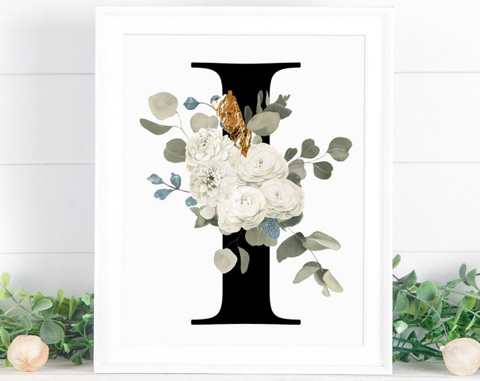 Monogram Letter floral I wall art decor, Flower alphabet I monogram digital print
