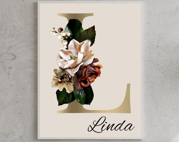 Personalized gifts, Floral monogram alphabet L wall art decor, Monogram letter L digital print