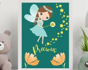 Kids room wall art decor, Fairy precious nursery room digital print instant download