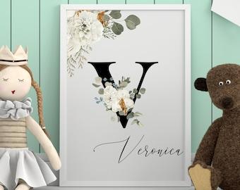 Personalized gifts, Floral monogram letter V wall art, Monogram alphabet floral V digital print