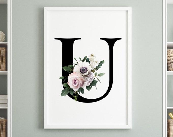 Letter U floral monogram wall art decor, Flower monogram alphabet U digital print