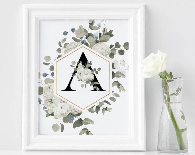 PrintableWallArt, Floral Alphabet A, DigitalDownload, DigitalPrintable, WallArt, HomeDecor, BedroomDecor, DigitalPrint, WallDecor