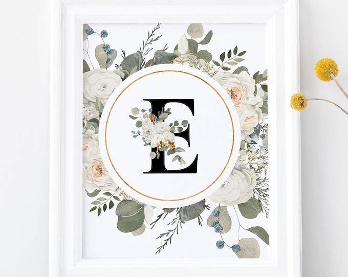 PrintableWallArt, Floral Golden Alphabet E,  DigitalDownload, WallArt, HomeDecor, BedroomDecor, DigitPrint