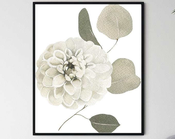 Printable Wall Art, White Flower Print, DigitalDownload, HomeDecor, BedroomDecor, WallDecor, WallArt, BedroomArt