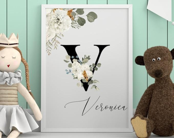Letter V Wall Art, Wall Art, Personalized Name Letter Wall Decor, Printable Wall Art, Digital Print, Monogram Initial V, Home Decor
