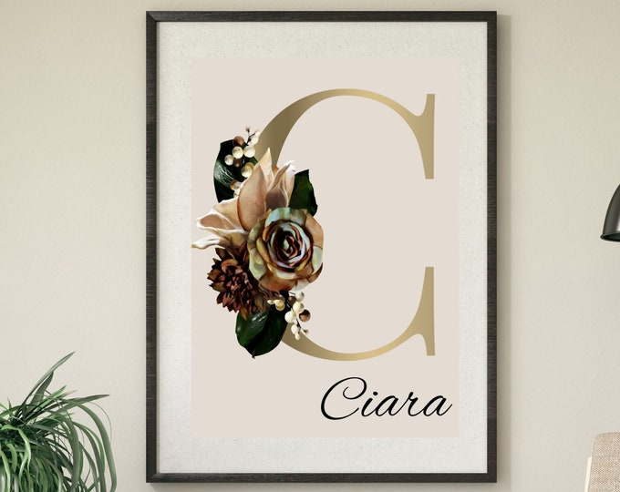 Personalized gifts, Floral monogram letter C wall art decor, Flower alphabet C monogram digital print