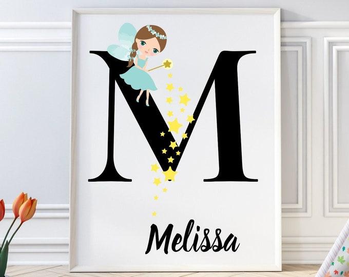 Personalized gifts, Nursery room monogram letter M wall art decor, Alphabet M teal fairy kids room digital print