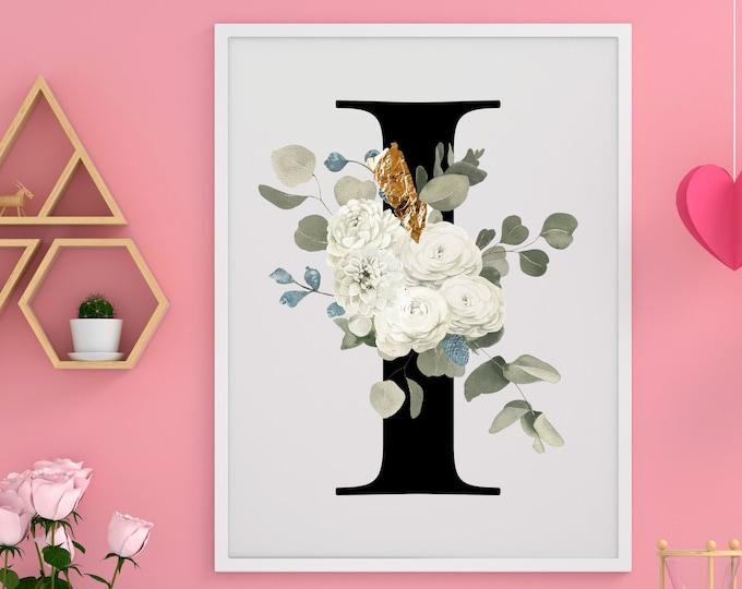 Letter I Wall Art, Wall Art, Home Decor, Flower Letter Print, Letter I Wall Decor, Monogram Initial I, Printable Wall Art, Digital Print