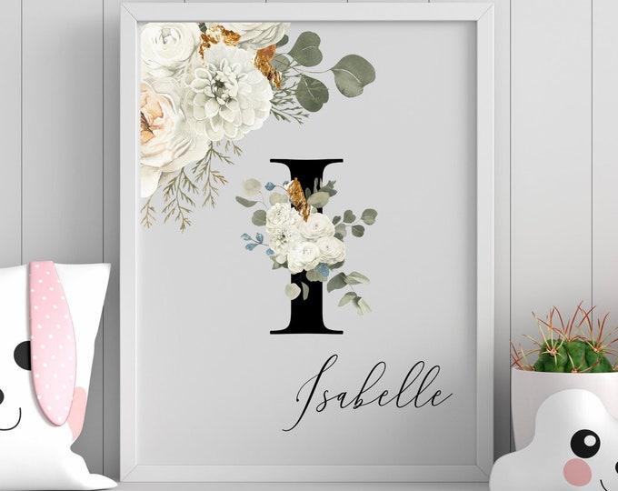 Letter I floral monogram wall art decor, Personalized gifts, flower alphabet I digital print