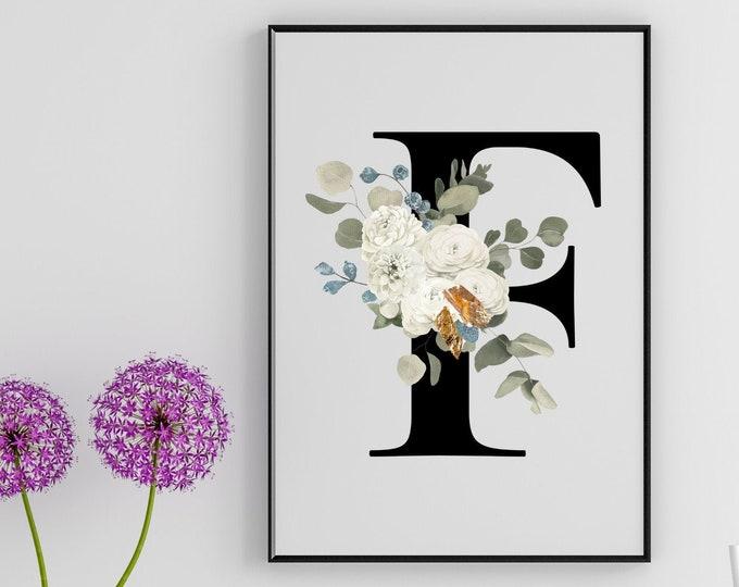 Letter F Wall Art, Wall Art, Home Decor, Letter F Wall Decor, Printable Wall Art, Monogram Letter, Monogram Digital Print