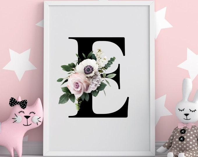 Monogram floral letter E wall art decor, Flower letter E monogram digital print