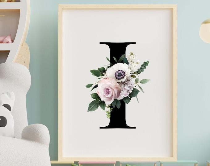 Letter I floral monogram wall art decor, Flower alphabet I monogram digital print
