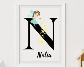 Personalized gifts, Nursery room monogram letter N wall art decor, Alphabet N teal fairy kids room digital print