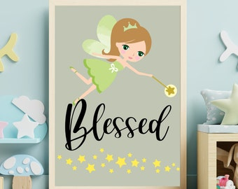 Nursery room wall art decor, Fairy blessed kids room digital print download