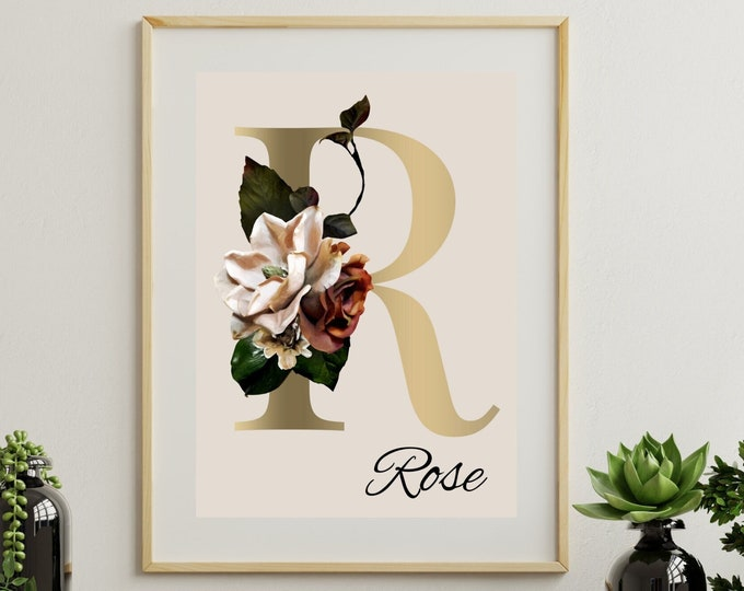Personalized gifts, Floral monogram letter R wall art decor, Monogram flower alphabet R digital print