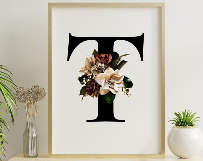Monogram letter floral T wall art decor, Flower monogram alphabet T digital print