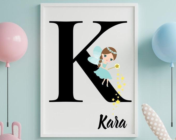 Personalized gifts, Nursery room monogram letter K wall art decor, Teal fairy letter K digital print for girl's room
