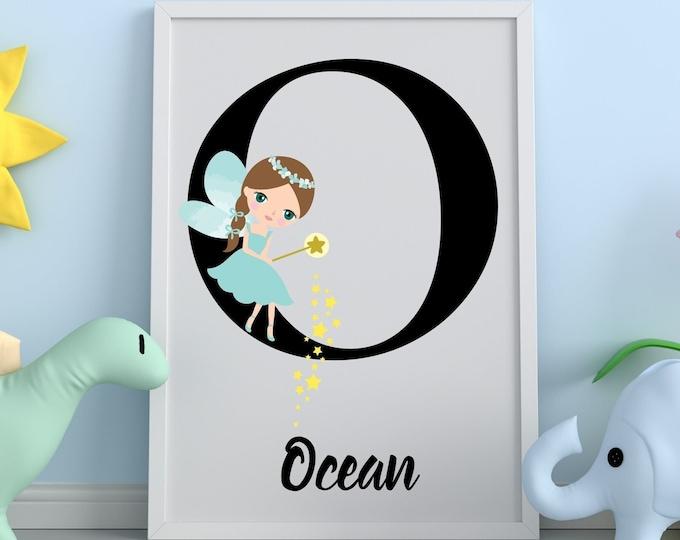 Personalized gifts, Nursery room monogram letter O wall art decor, Alphabet O teal fairy kids room digital print