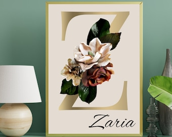 Personalized gifts, Floral monogram letter Z wall art home decor