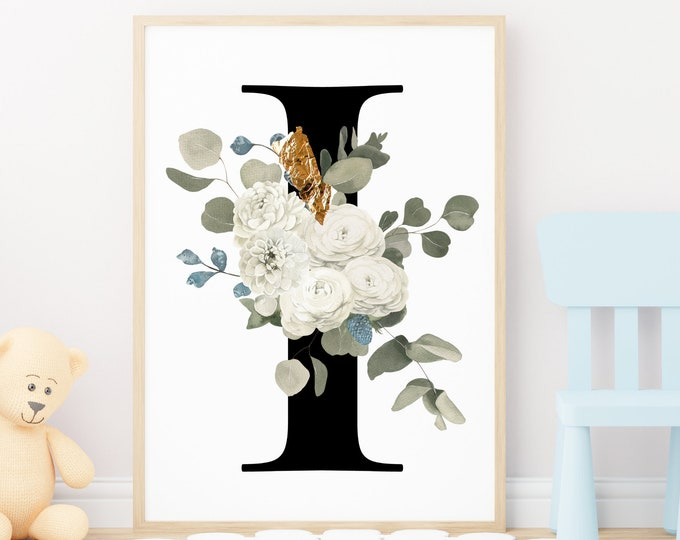 Letter I Wall Art, Initial I Print, Flower Letter Print, Letter I Wall Decor, Monogram Wall Art, Printable Wall Art, Digital Print