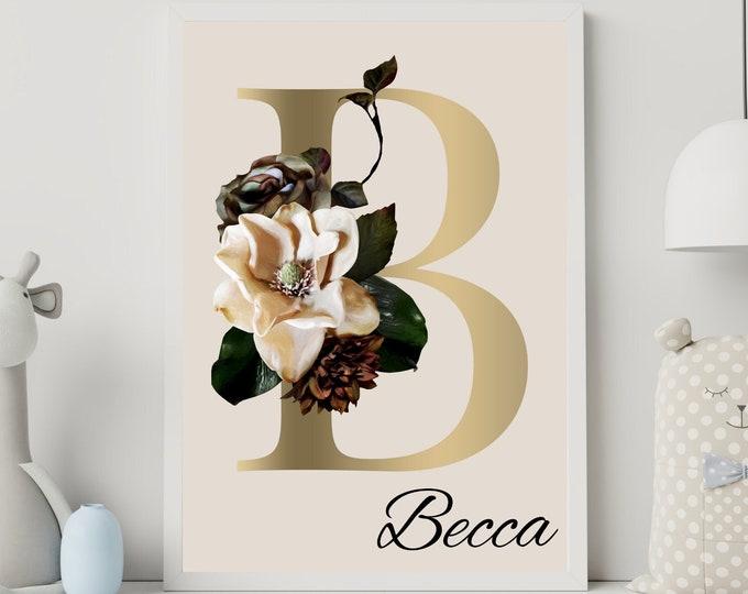 Personalized gifts, Floral monogram letter B wall art decor, Flower alphabet B monogram digital print