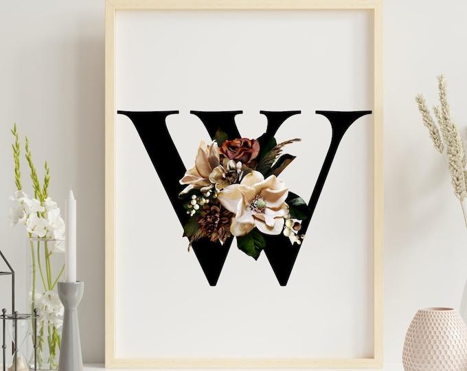 Letter W floral monogram wall art decor, Flower monogram alphabet W digital print