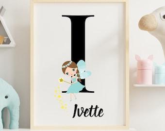Personalized gifts, Nursery room monogram letter I wall art decor, Teal fairy alphabet I digital print for girl's room