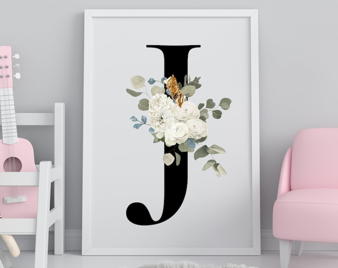 Letter J Wall Art, Wall Art, Flower Letter Print, Letter J Wall Decor, Letter Wall Art, Monogram Digital Print, Home Decor