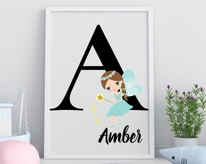 Personalized gifts, Nursery room monogram letter A wall art decor, Teal fairy alphabet A digital print for kids room