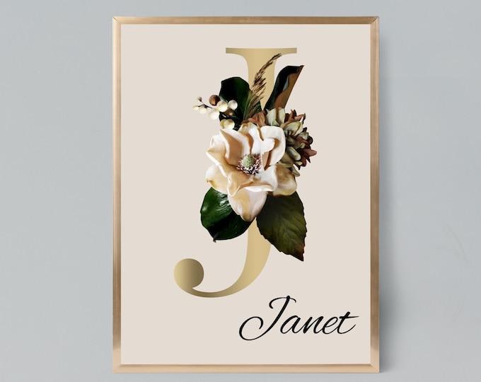 Personalized gifts, Floral monogram letter J wall art decor, Monogram alphabet J digital print